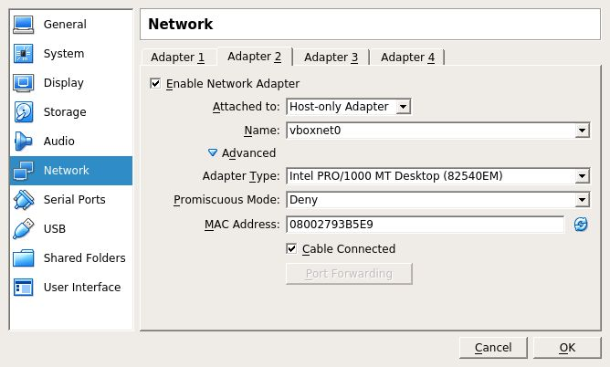 VirtualBox network settings showing a host-only configured adapter